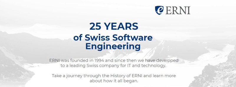 ERNI 25 year anniversary dotbrand website