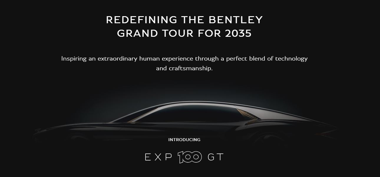 screenshot from Bentley Extraordinary Journeys dotbrand website, showing silhouette of car against a dark background