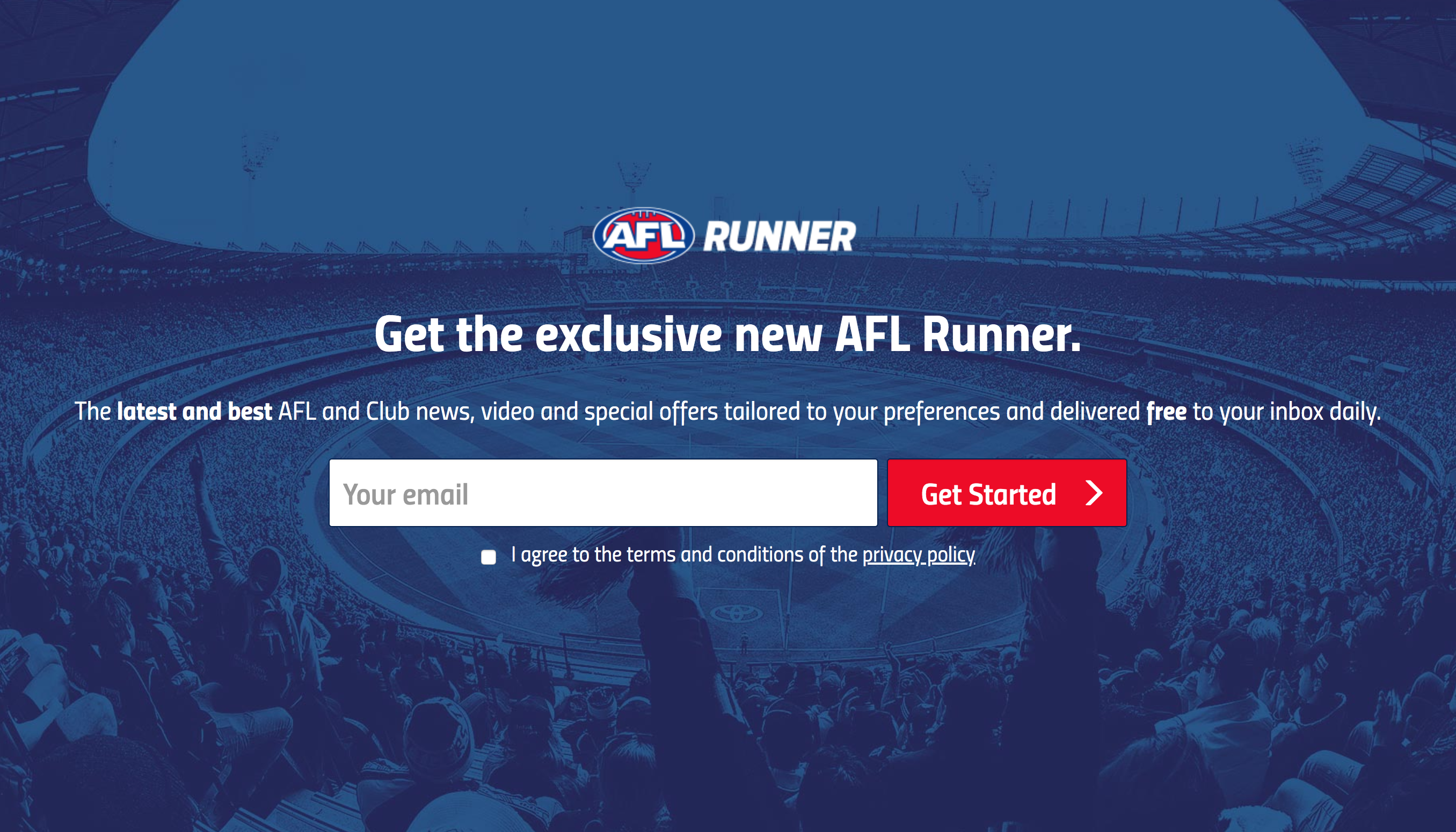 The Australian Football League's newsletter sign up portal