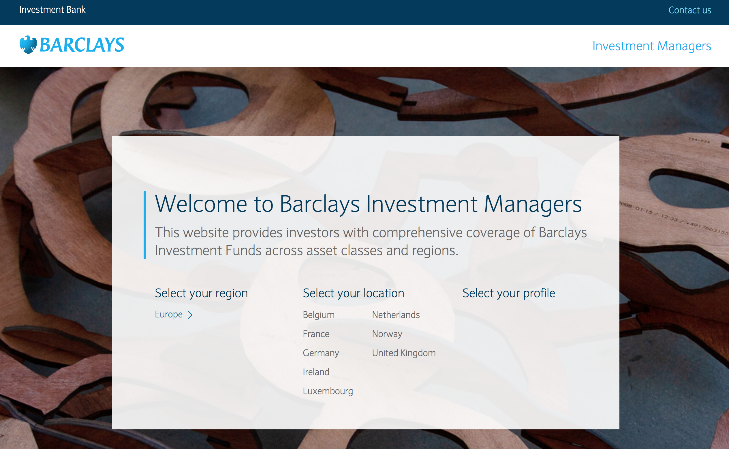 Barclay's site to highlight Barclays Investment Funds across asset classes and regions